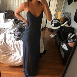 Chambray maxi dress plunging back